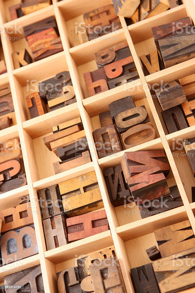 Sorted Letterpress Letters royalty-free stock photo