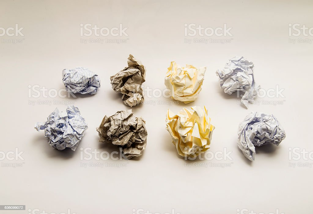 Sorted organized Crumpled paper Balls stock photo
