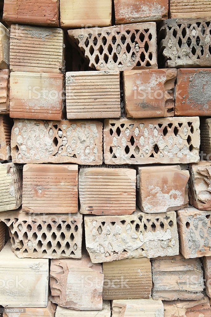 sorted out old hollow bricks XXXL stock photo