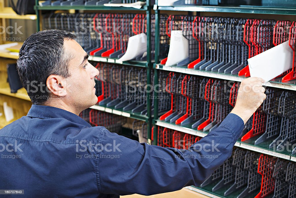 Sorting mail stock photo