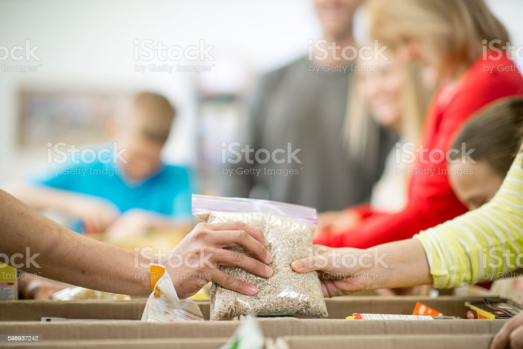 Sorting Non Perishable Foods stock photo