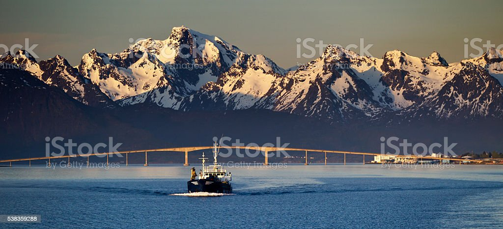 Sortland (Norway) Bridge during the Midnight Sun stock photo