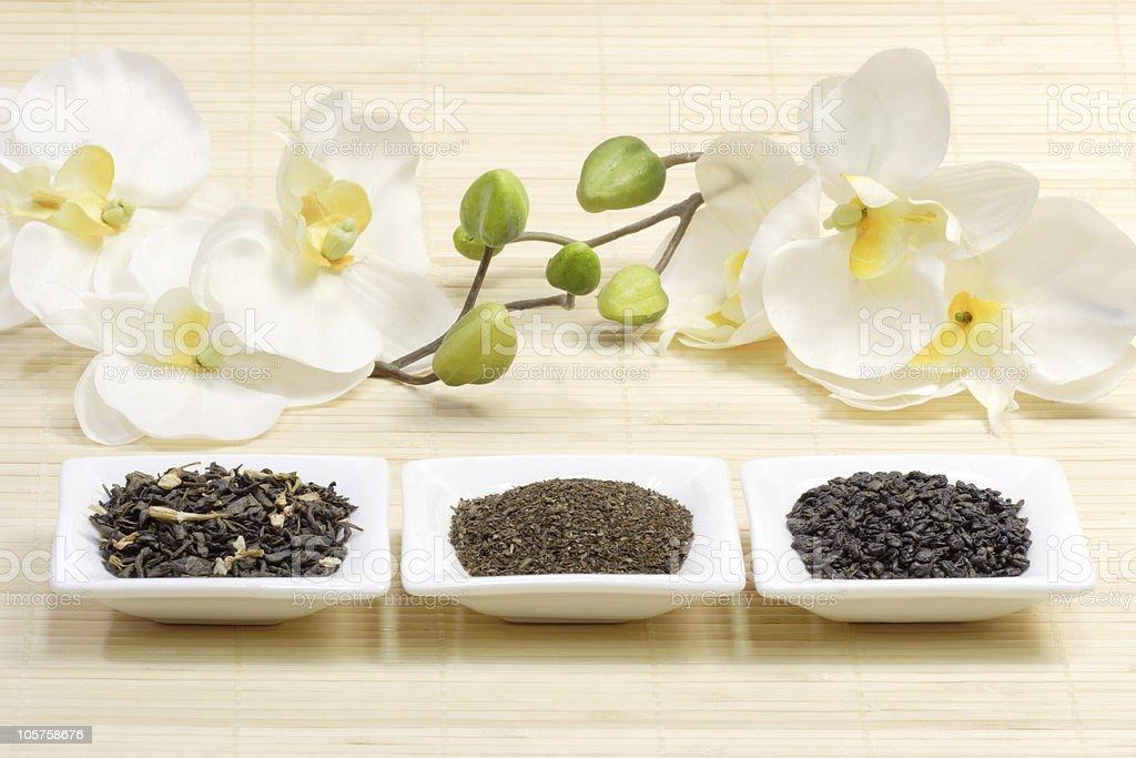 Sorts of green tea royalty-free stock photo