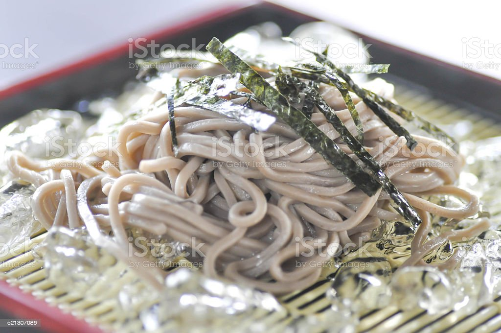 soruzoba, cold soba, or cold noodle stock photo