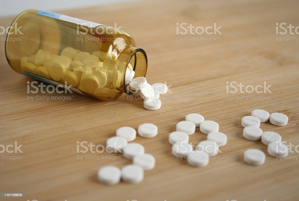 sos made of tablets stock photo