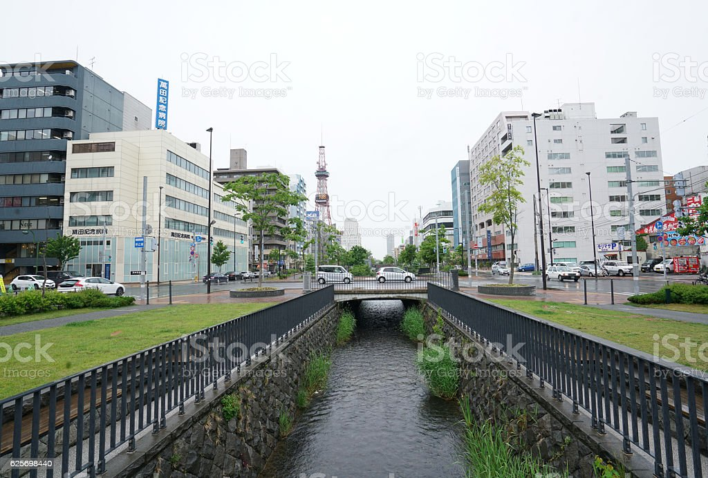 Soseigawa park near fish market in downtown Sapporo, Japan stock photo