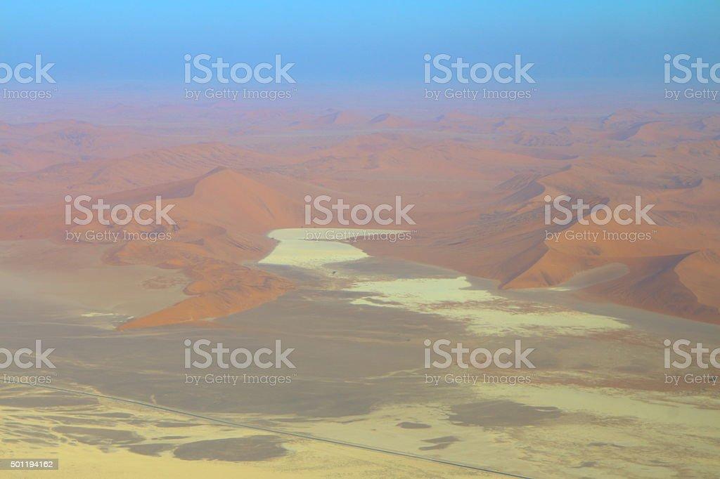 Sossusvlei: Flying over the Namib Desert stock photo