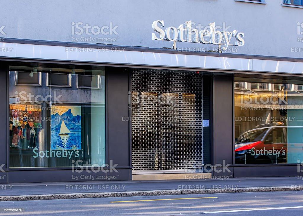 Sotheby's office on Tahlstrasse street in Zurich, Switzerland stock photo