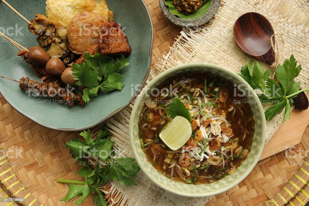 Soto Kudus and Variety of Side Dishes stock photo