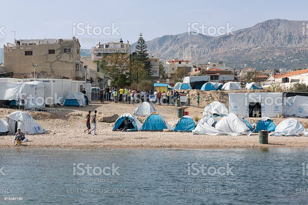 Souda refugee camp on Chios Island in Greece stock photo
