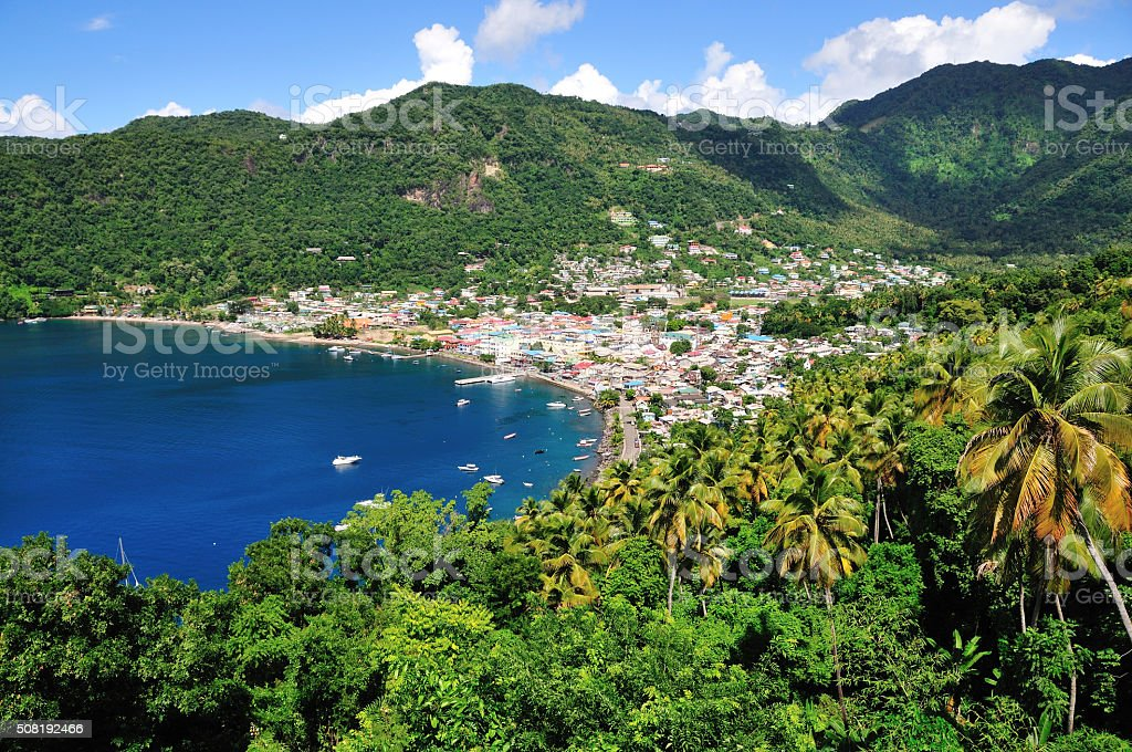 Soufriere bay and town stock photo