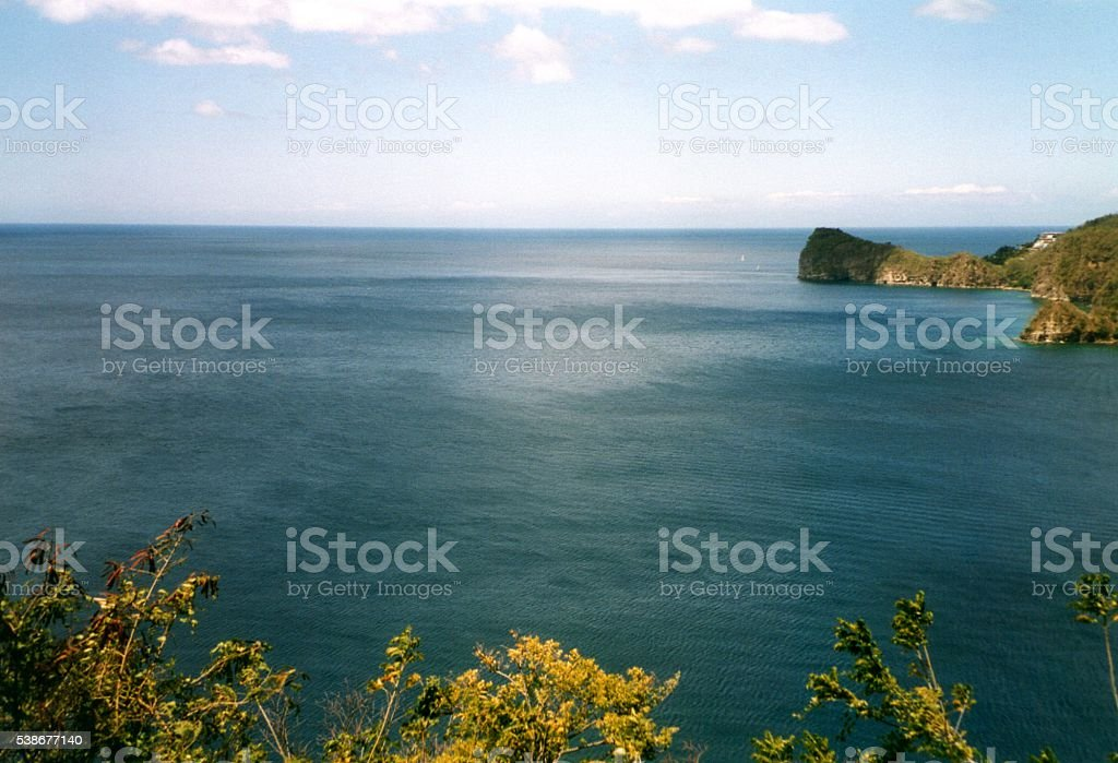 Soufriere Bay panoramic view, Saint Lucia, Windward Islands stock photo