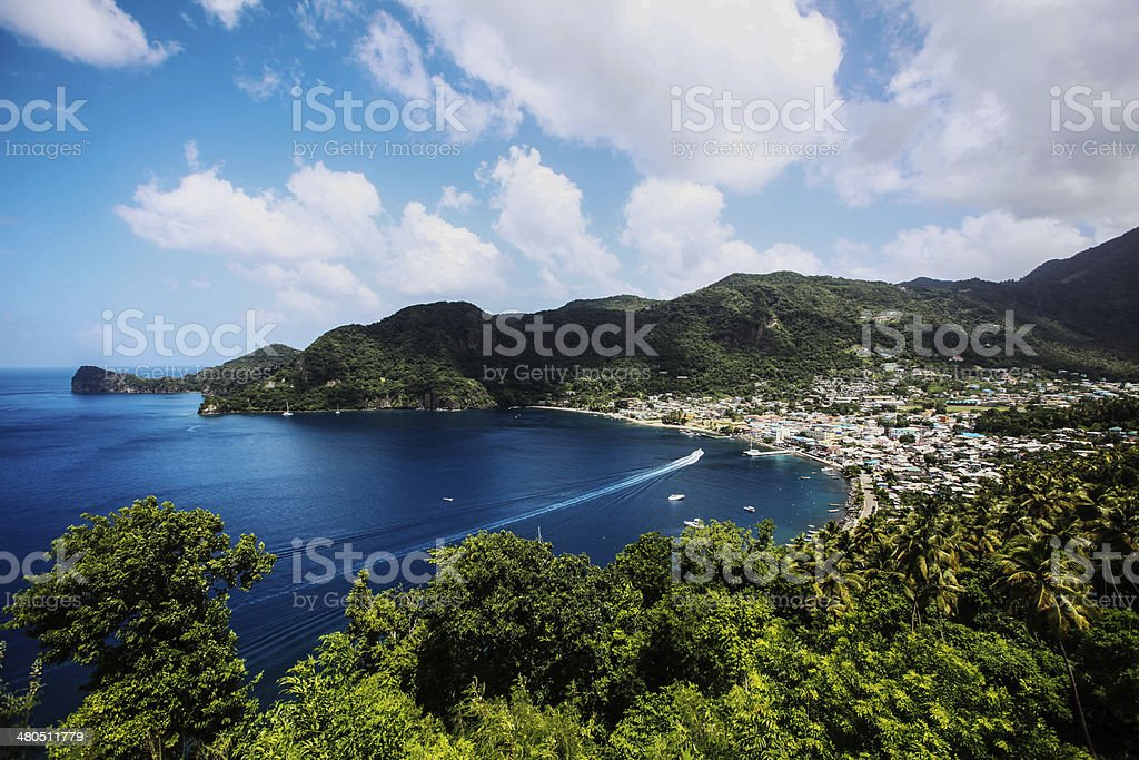 Soufriere bay, St Lucia stock photo