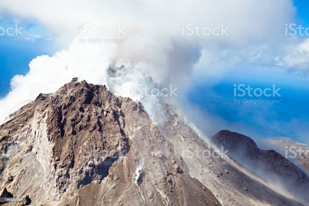 Soufriere Hills Volcano, Montserrat royalty-free stock photo