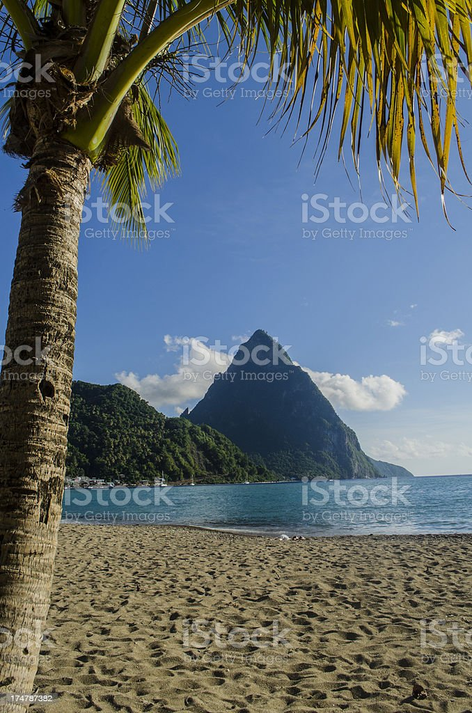 Soufriere St Lucia; breathtaking Piton scenery and bay stock photo