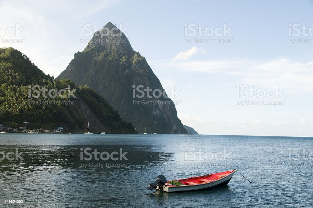 soufriere st. lucia twin piton fishing boat Caribbean Sea stock photo