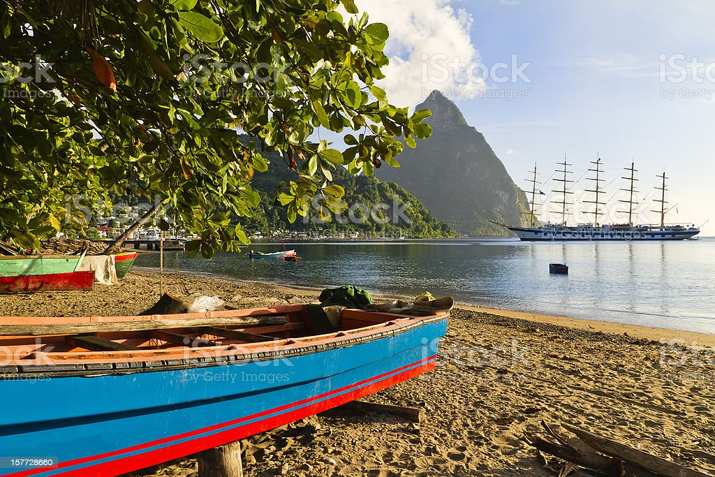 Soufri?re Bay, Saint Lucia stock photo
