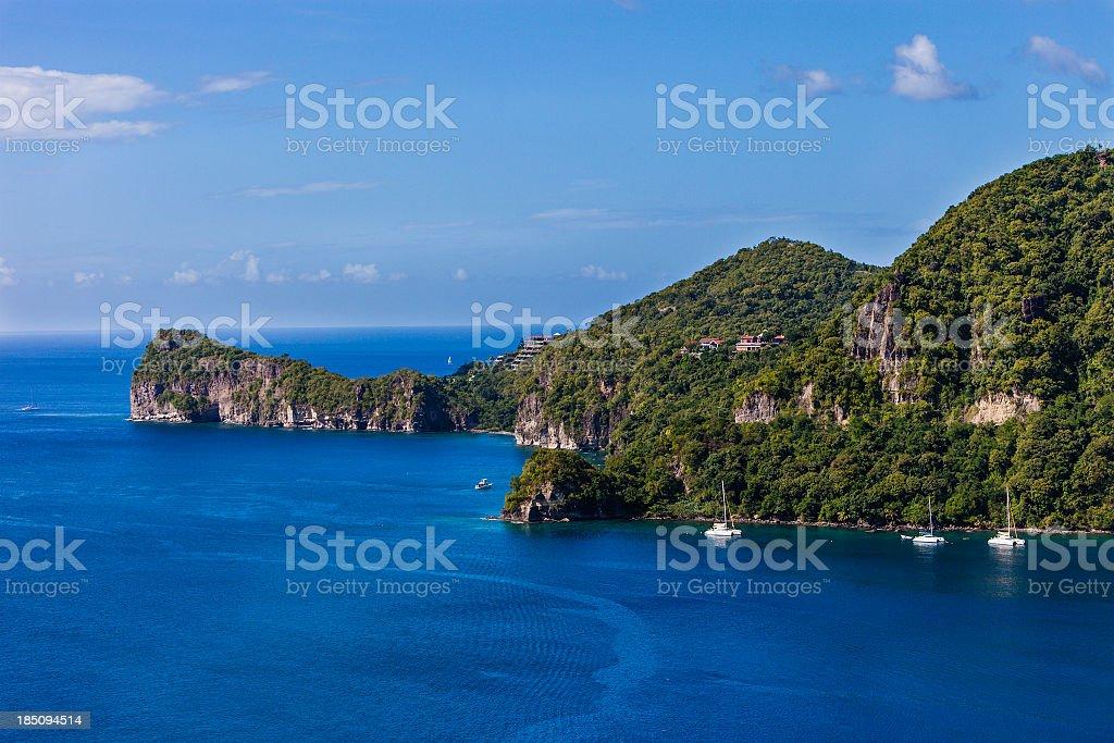 Soufrière Bay, St. Lucia stock photo
