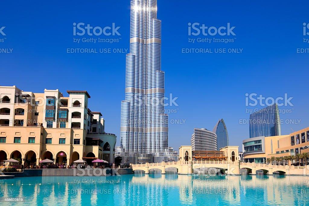 Souk Al Bahar and Burj Khalifa, world's tallest building, Dubai royalty-free stock photo