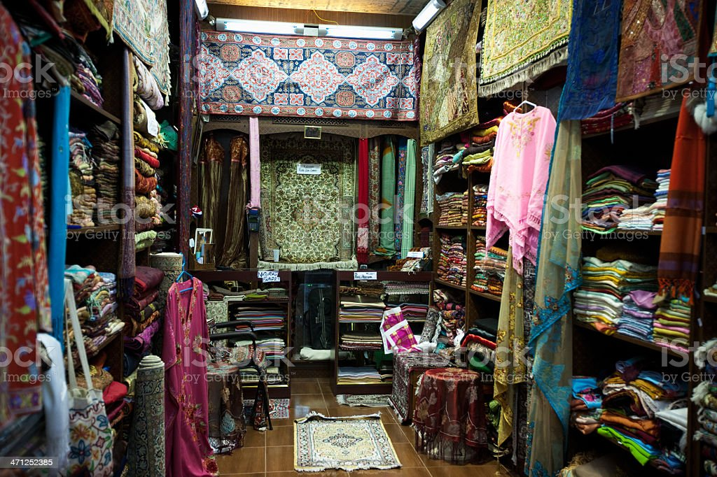 Souk in Muttrah Oman Carpets and Textiles Traditional Shop royalty-free stock photo
