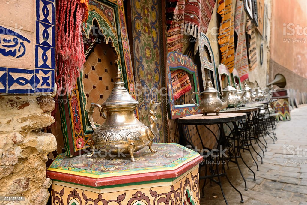 Souk (bazaar) in the Moroccan old town - Medina stock photo