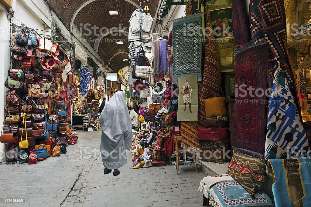 Souk in Tunis medina stock photo