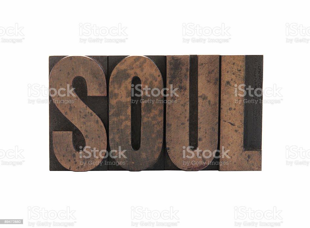 soul in letterpress wood type royalty-free stock photo