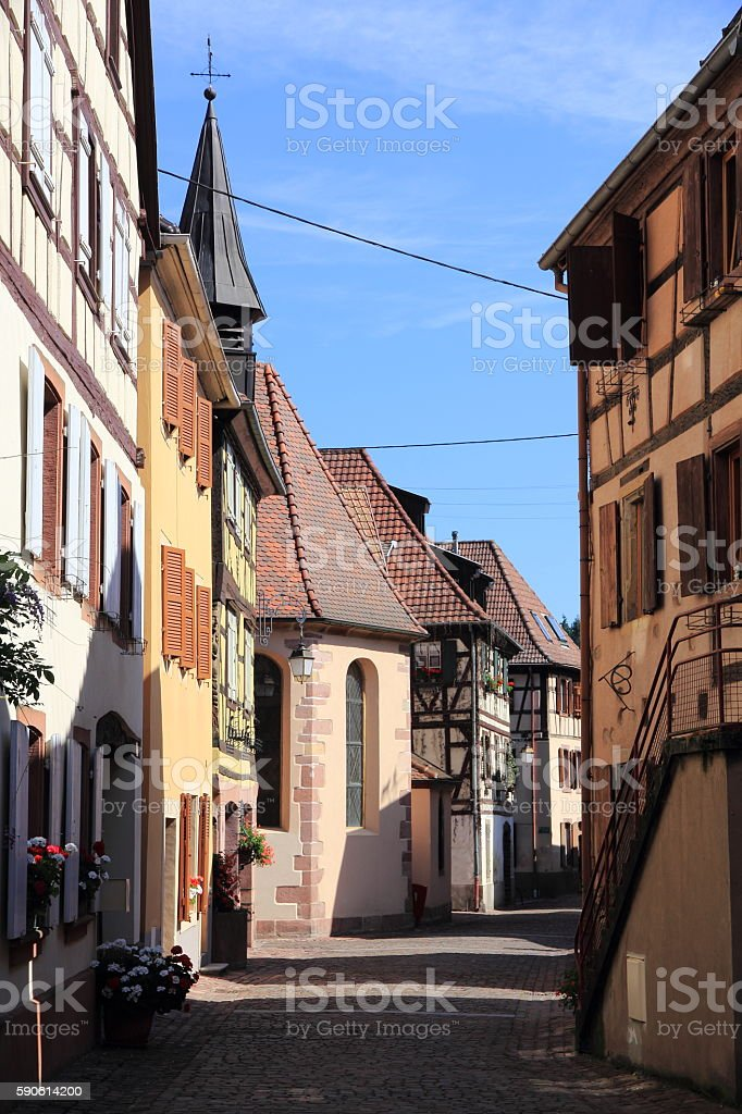 Soultzbach-les-Bains, village of Alsace stock photo