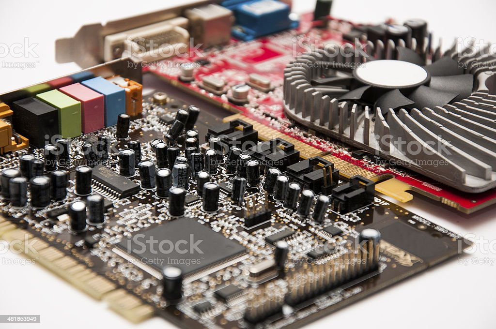 Sound and video card on a white background stock photo