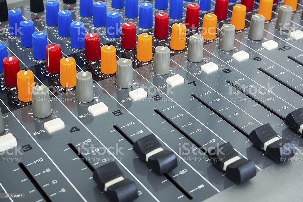 Sound Board In Studio stock photo