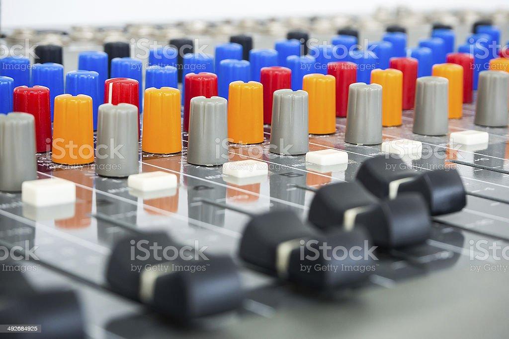 Sound Board In Studio - Stock Image stock photo