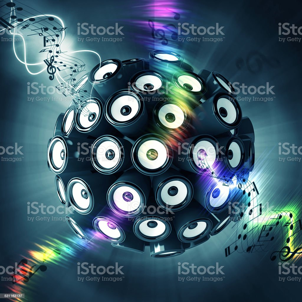 Sound boxes forming a sphere stock photo