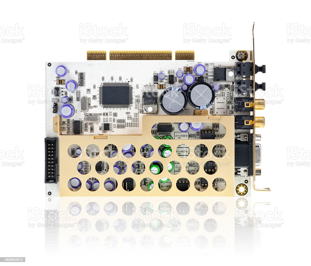 PCI sound card isolated on white. stock photo