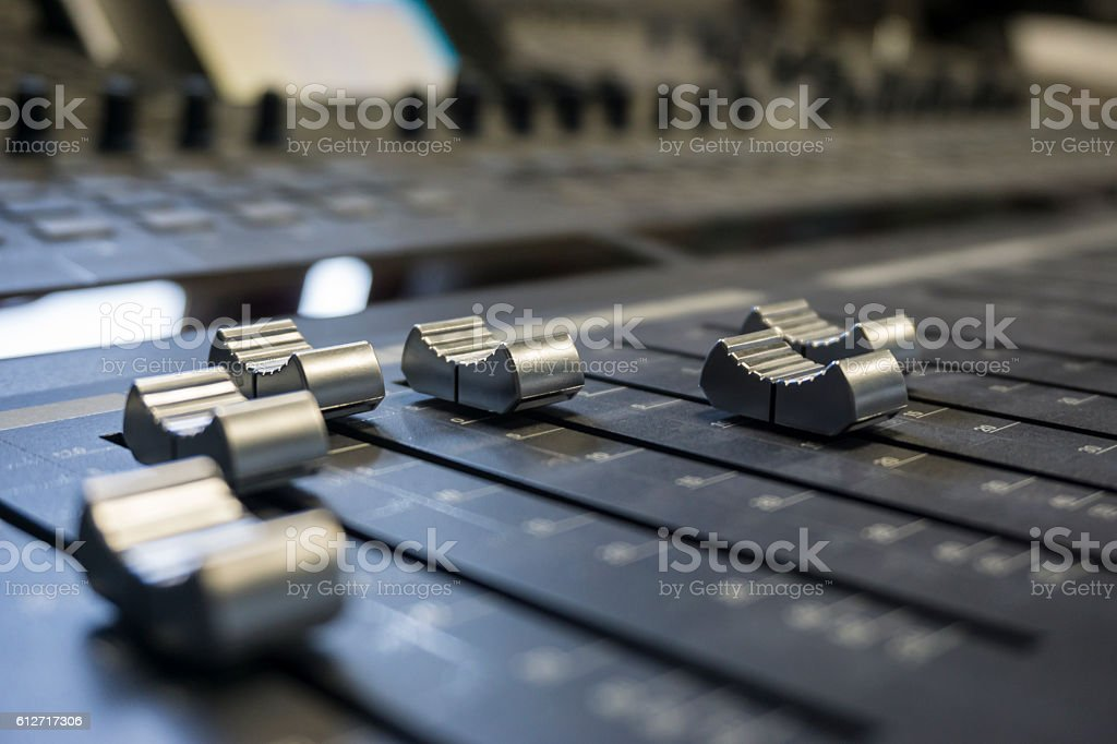 Sound digital mixer at a concert on stage background stock photo