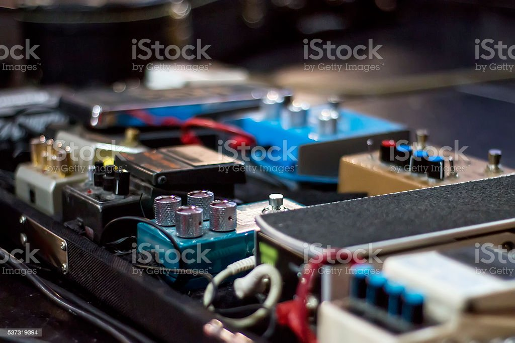 Sound effect analogic pedals at a concert stage stock photo