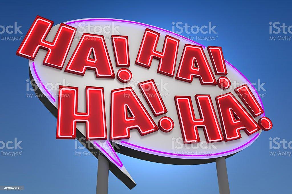 HA! HA! HA! HA! Sound Effect Neon Sign stock photo