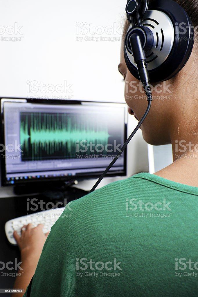 Sound engineer at work stock photo