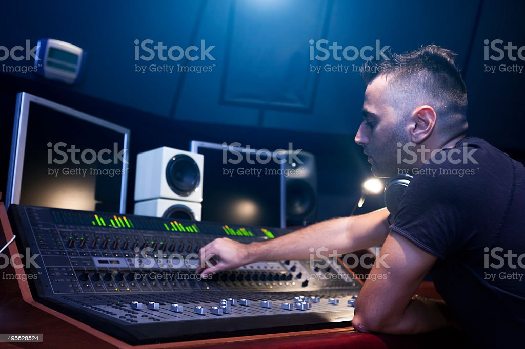 Sound Engineer Working stock photo