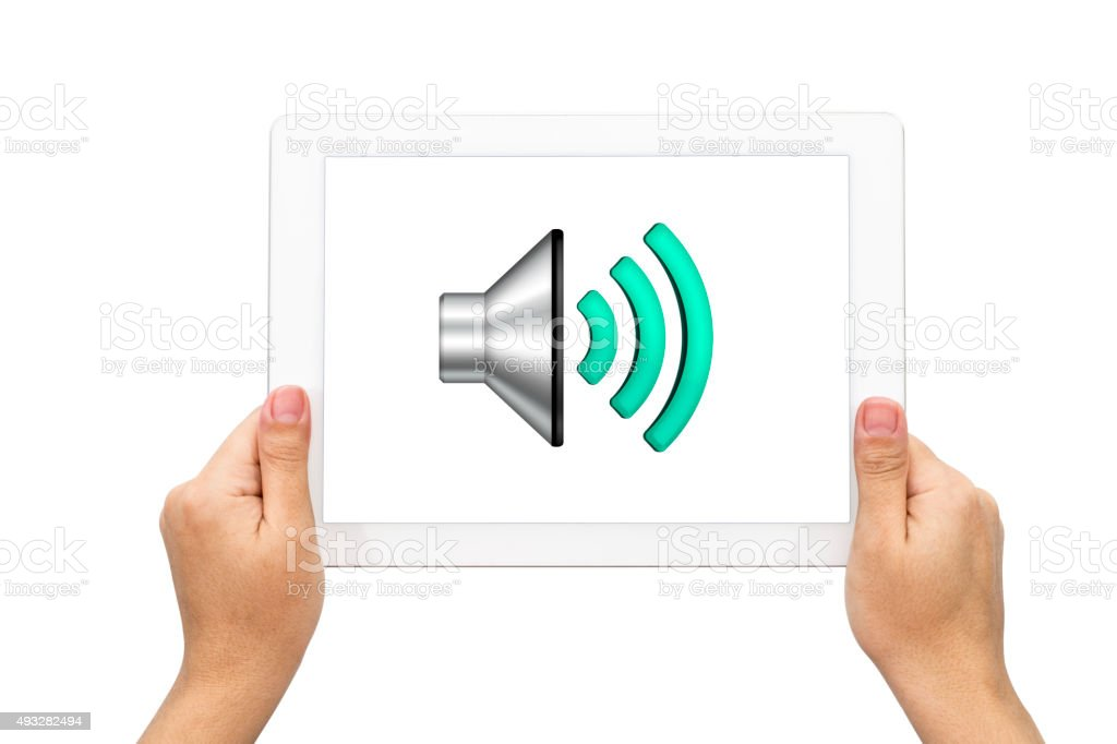 Sound icon with holding tablet stock photo