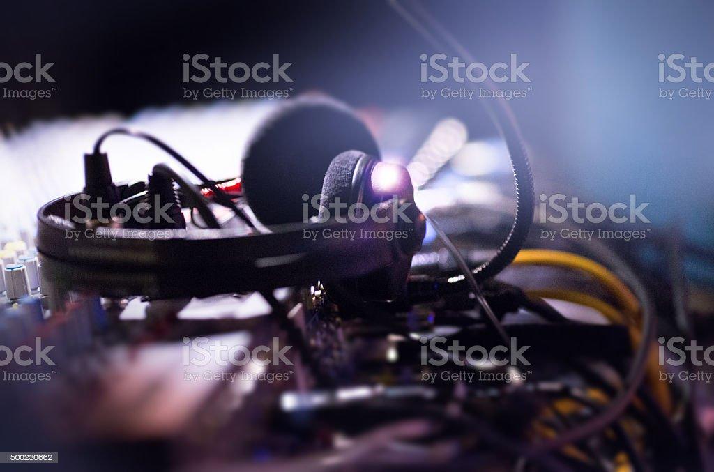 sound mixer and headphone stock photo
