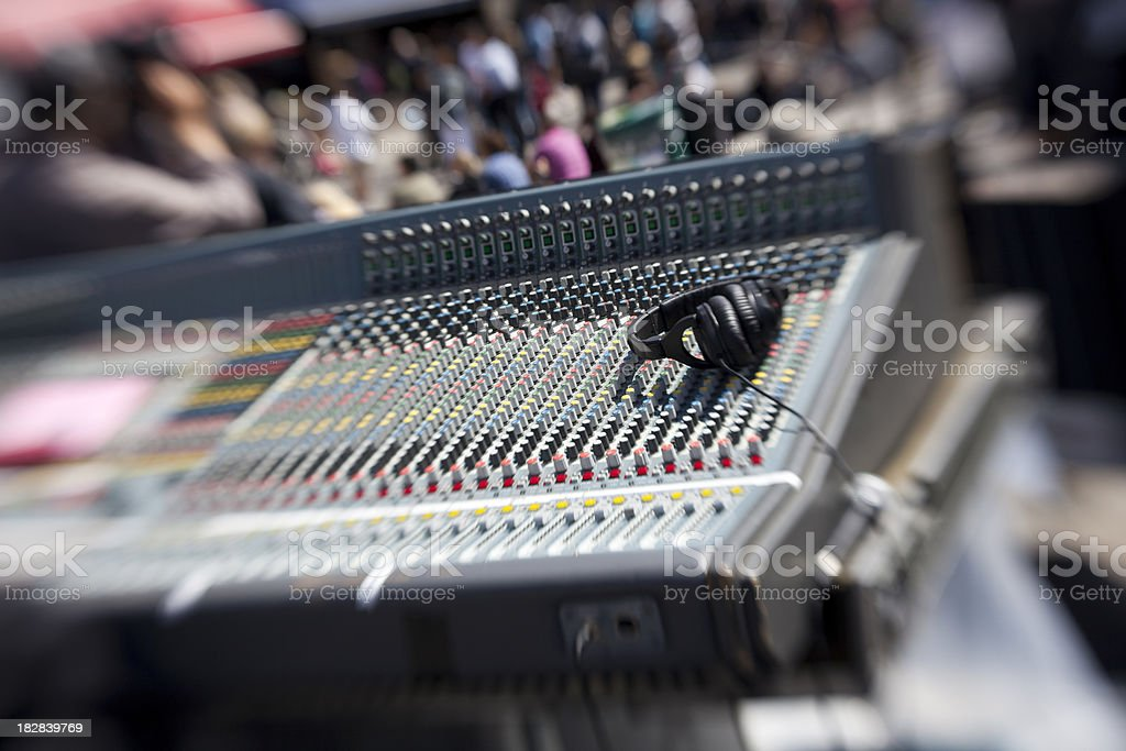 Sound Mixer Board and Headset, outdoor music festival stock photo