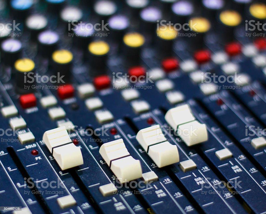 Sound mixer close-up stock photo