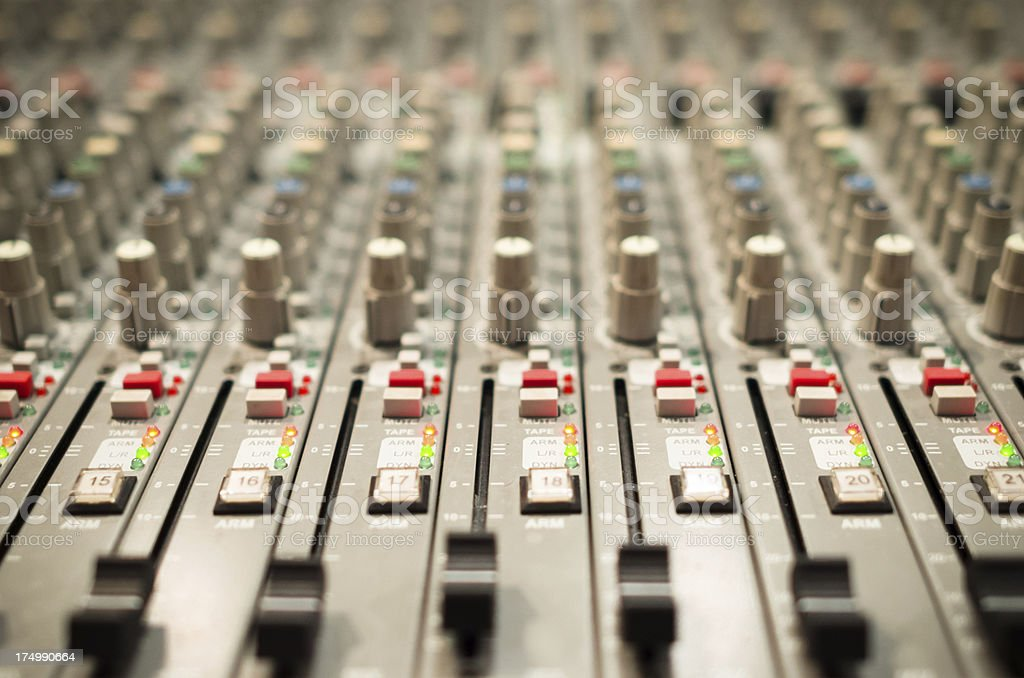 Sound mixer console in a recording studio royalty-free stock photo