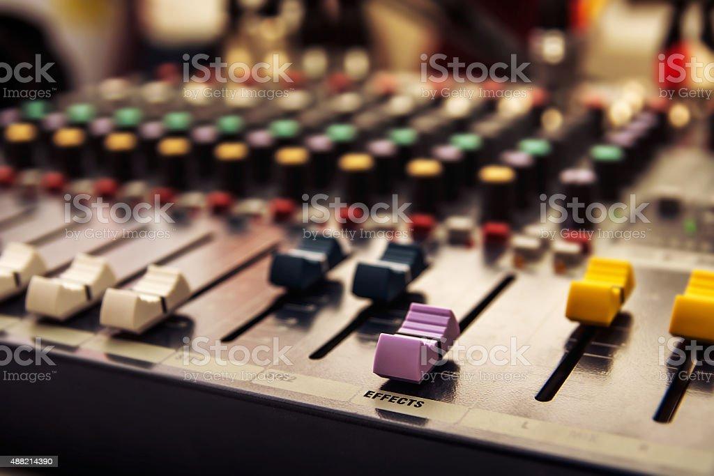 Sound mixer control panel, audio controls stock photo