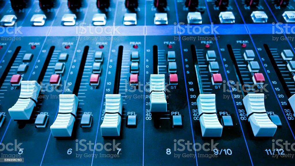 Sound mixer control stock photo