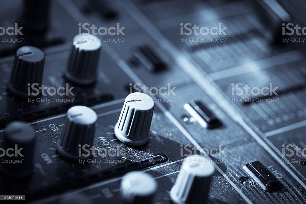 Sound mixer details stock photo