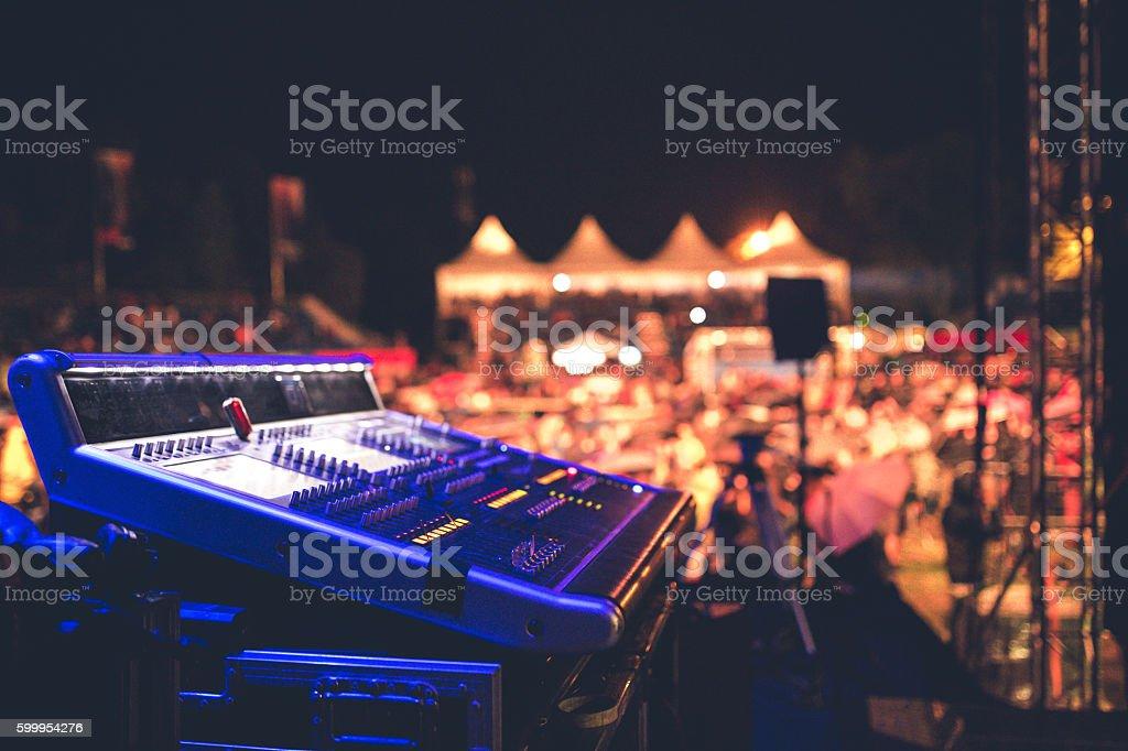 Sound mixer on stage stock photo