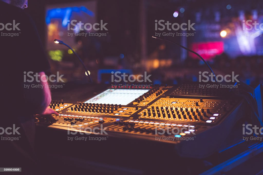 Sound mixer on the live performance stock photo