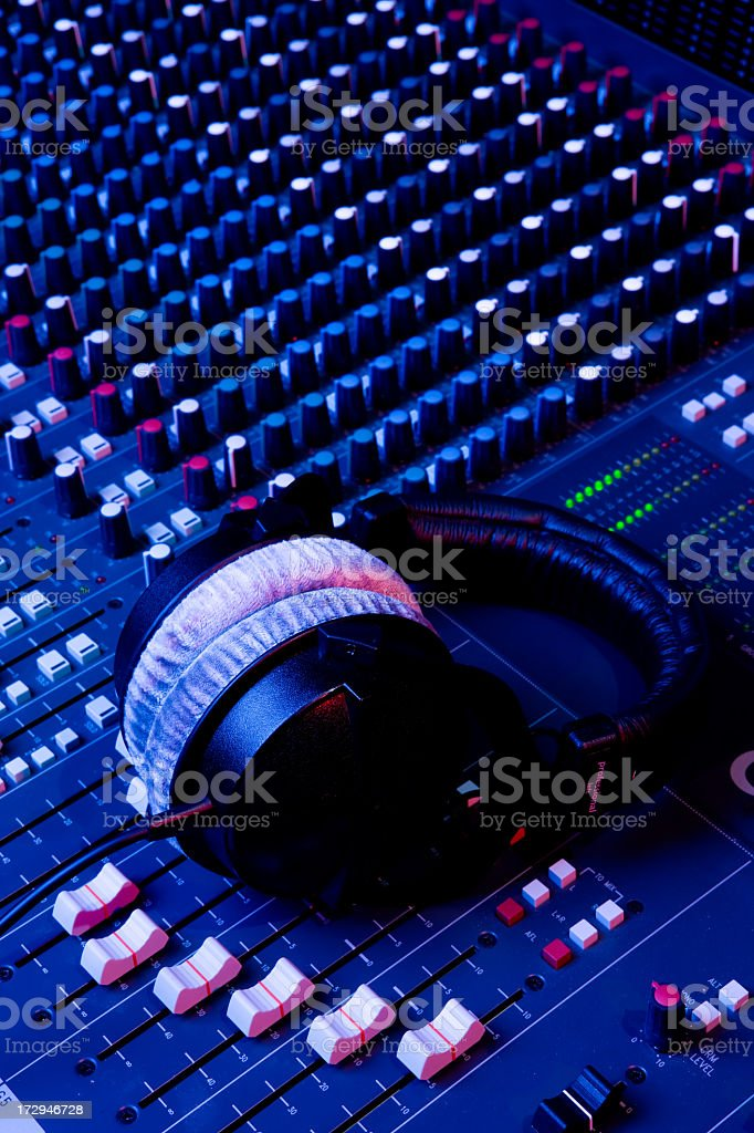 Sound Mixing Board and Headphones stock photo