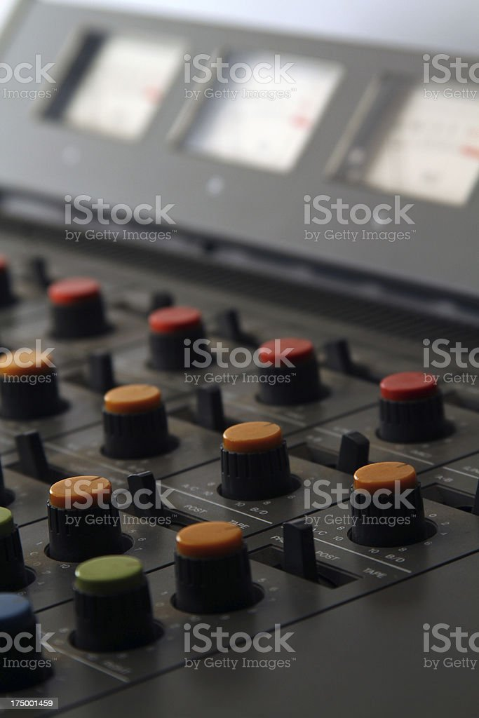 Sound Mixing Board - close royalty-free stock photo
